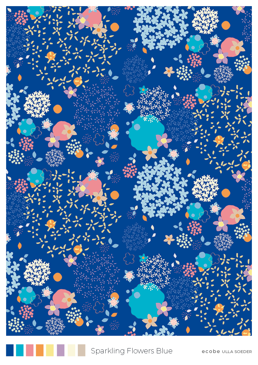 Sparkling Flowers Blue Pattern