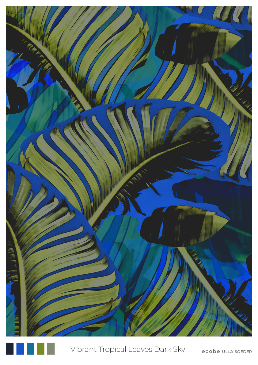 Vibrant Tropical Leaves by night