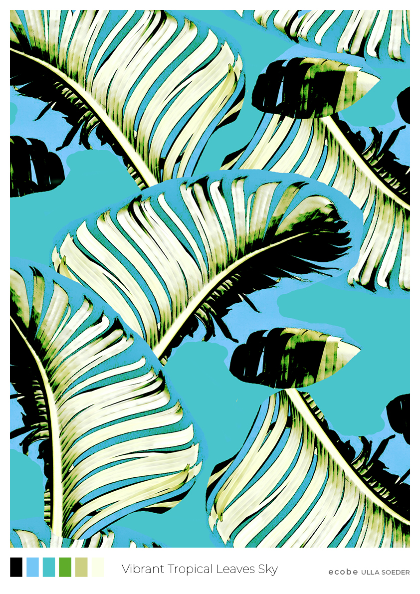 Vibrant Tropical Leaves Sky Pattern